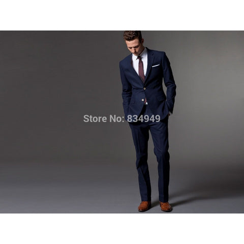 Custom Made Dark Blue Men Suit, Tailor Made Suit, Bespoke Light Navy Blue Wedding Suits For Men, Slim Fit Groom Tuxedos For Men - Shopatronics - One Stop Shop. Find the Best Selling Products Online Today