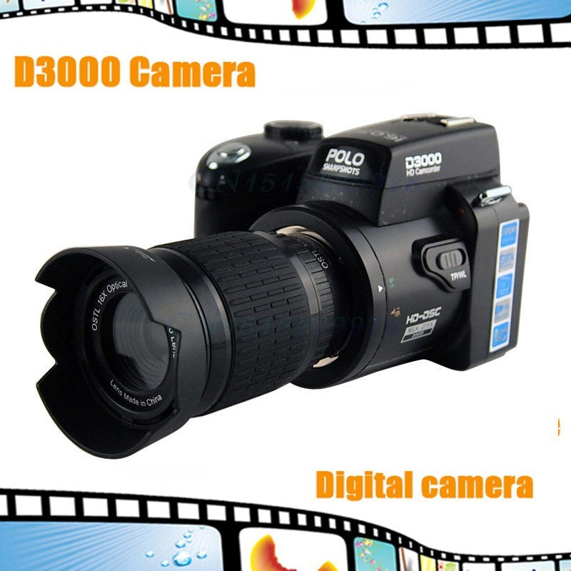 "D3000 Digital Camera Upgrade Version 16MP 3.0"" LCD Full-HD,With 16X Optical Zoom Telephoto Lens + Wide Angel Lens HD Camcorder - Shopatronics"