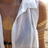 DIY Flash Tattoos Gold Silver Metalic Temporary Tattoos Gold necklace Feather Tattoo Wholesale - Shopatronics