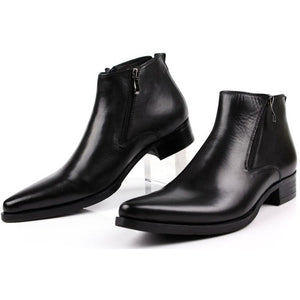 Large size 2016  fashion cool black Zipper genuine leather  mens boots Pointed Toe man dress shoes - Shopatronics