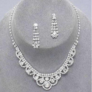 Earrings Factory Price Wedding Bridal Bridesmaid Jewelry Sets 14F2AF047 Celebrity Inspired Crystal Tennis Statement Necklace Set - Shopatronics