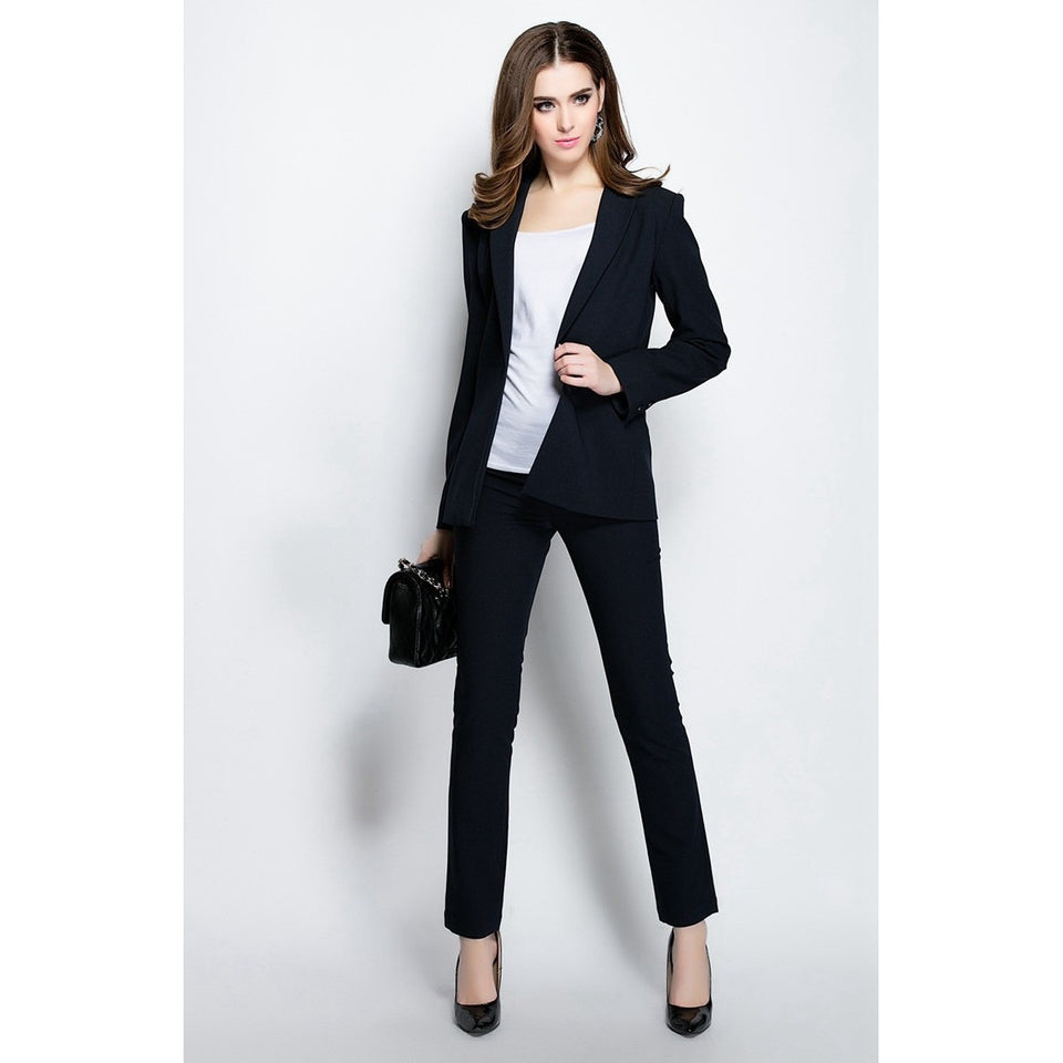 ElaCentelha Brand Dress Suits Sets Autumn Winter Women High Quality Work OL Office Solid Turn Down Collar Slim New Pant Suits - Shopatronics