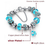 European Style Authentic Tibetan Silver Blue Crystal Charm Bracelets for Women Original DIY Jewelry Christmas Gift SBR150292 - Shopatronics - One Stop Shop. Find the Best Selling Products Online Today