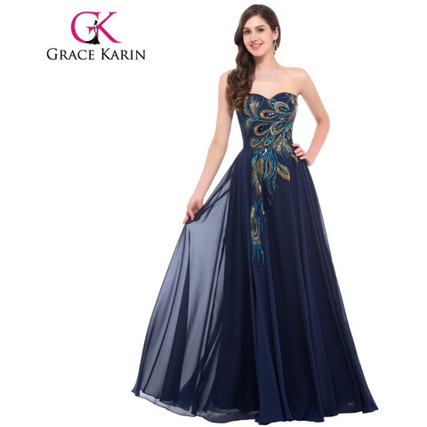 Evening Dress Grace Karin Strapless Peacock Formal Long Black Evening Dresses Lace Up Back Elegant Gowns robe de soiree CL6168 - Shopatronics - One Stop Shop. Find the Best Selling Products Online Today