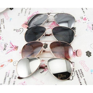 FASHION AVIATOR SUNGLASSES SILVER METAL NEW MEN WOMEN SHADES - Shopatronics