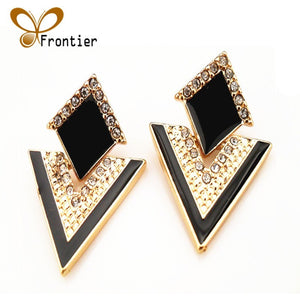 Fashion Accessories Jewelry Vintage Brand Crystal Stud Earrings For Women E057 Frontier - Shopatronics