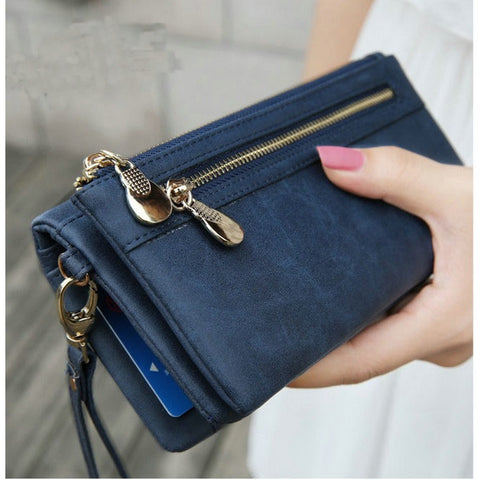 Fashion Women Wallets Dull Polish Leather Wallet Double Zipper Day Clutch Purse Wristlet Coin Purse Card Holder Billetera. - Shopatronics - One Stop Shop. Find the Best Selling Products Online Today