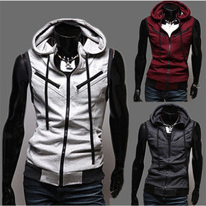 Fashion Zipper Cardigan Sweatshirts Sport Brand Hoodies Men, Casual Sweatershirt Men Slim Hoodie Sleeveless Sweatshirts Jacket - Shopatronics