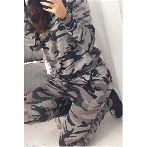 Fashion spring Autumn long sleeve BDU Camouflage suit sports suit women tracksuits uniform women's set - Shopatronics