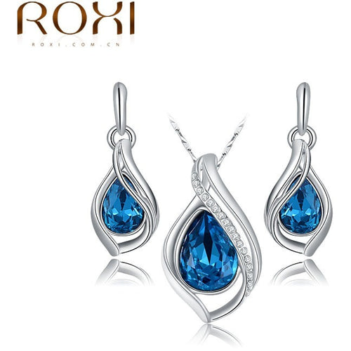Fashion women water drop jewellery set of blue crystal wedding jewelry sets for women with Sapphire african Female Jewelry set - Shopatronics