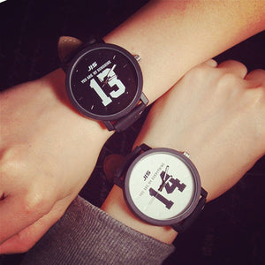 Lovers Couple Watches Women Men PU Leather Band Printed 13 14 Quartz Wrist Watch montre femme reloj hombre Clock - Shopatronics