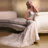 Removable Cap Sleeve Mermaid Sweetheart Elegant Discount Wedding Dress - Shopatronics