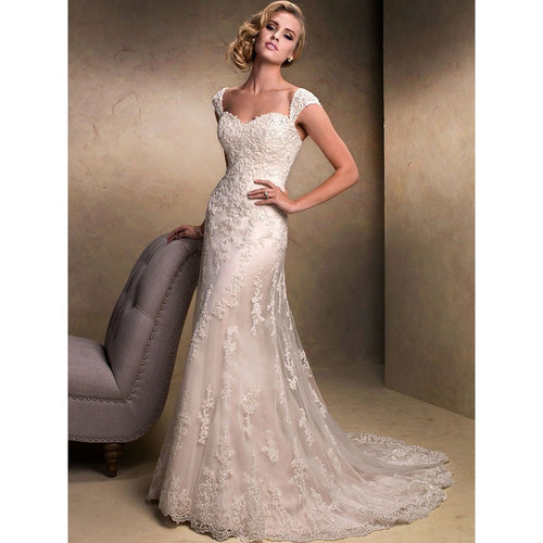 Removable Cap Sleeve Mermaid Sweetheart Elegant Discount Wedding Dress - Shopatronics - One Stop Shop. Find the Best Selling Products Online Today