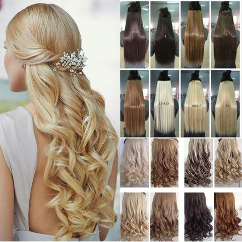 Long 17-29 inch Synthetic Clip In Hair Extensions High Temperature Fiber Curly Hair Extension Multicolor 150g - Shopatronics - One Stop Shop. Find the Best Selling Products Online Today