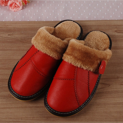 Winter Genuine Leather House Slippers Woman/Man Couple Slip-Resistant Platform Warm Terlik Big Size - Shopatronics