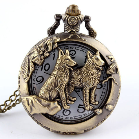 Free shipping Bronze Wolf Hollow Quartz Pocket Watch Necklace Pendant Women Men's Gifts CZ12 Wolf P256 - Shopatronics - One Stop Shop. Find the Best Selling Products Online Today
