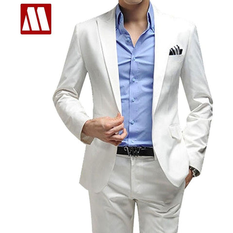 Men's clothing business suit men's blazer man pants slim fit white suits quality solid colour fomal suit set XXXL - Shopatronics - One Stop Shop. Find the Best Selling Products Online Today