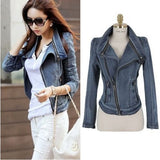 New fashion Star jeans women Punk spike studded shrug shoulder Denim cropped VINTAGE jacket coat Zipper Denim Coat - Shopatronics