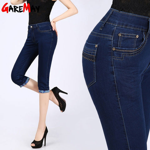 GAREMAY Cropped Jeans Female Women Summer Capris High Waist Plus Size Denim Pants Skinny Dark Blue Stretch Pants Slim New 315 - Shopatronics