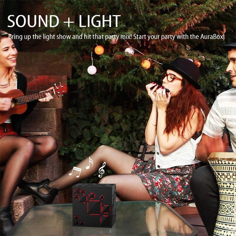 GOESTIME New Year Christmas Gift Mini Magic Cube Design Colorful Wireless Portable Bluetooth Speaker LED Flash Light Handsfree - Shopatronics