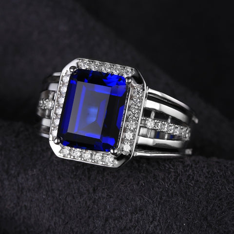 Gem Stone Jewelry Blue Sapphire Wedding Engagement Ring Set For Men Genuine 925 Solid Sterling Sliver 2016 Brand New Luxury - Shopatronics - One Stop Shop. Find the Best Selling Products Online Today