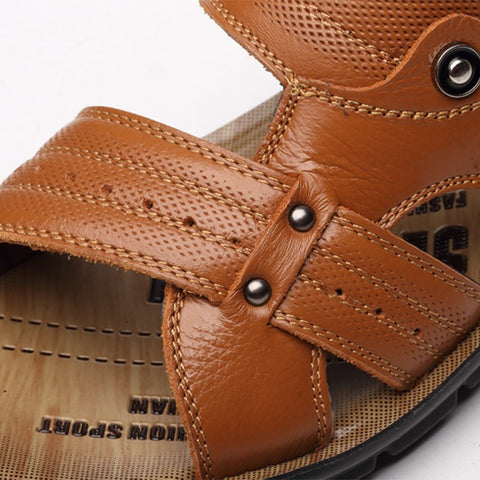 Genuine Leather Men Shoes Fashion Black Sandals Men Shoes Beach Summer Shoes,OX1991 Casual Sandalias Summer Sandals Men Shoes - Shopatronics