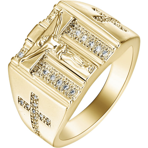 Gold Rings Jesus Design Cross carved for Men/Women Anillos White Cubic Zirconia Wedding Finger Ring Fine Jewelry - Shopatronics