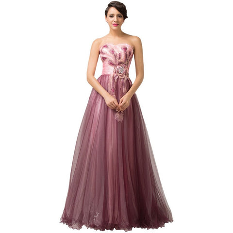 Grace Karin Evening Dresses Abendkleider 2016 Peacock Dress Plus Mother of the Bride Dress Long Celebrity Party Formal Gown 6163 - Shopatronics