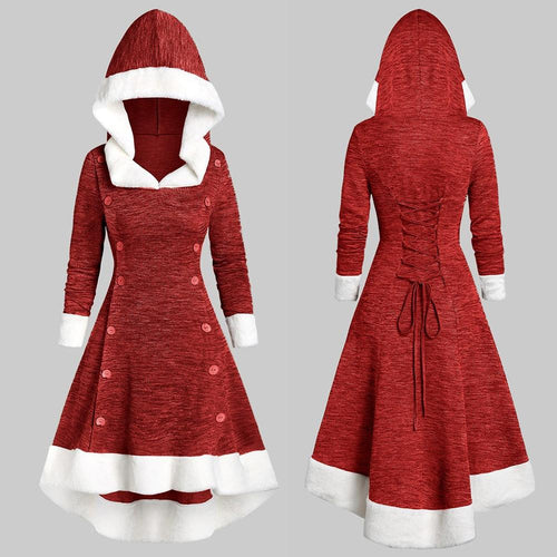Christmas Women Long Sleeve Vintage Hooded High Low Midi Dress