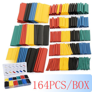164pcs/box Heat Shrink Tube Kit Shrinking Assorted Polyolefin Insulation Sleeving