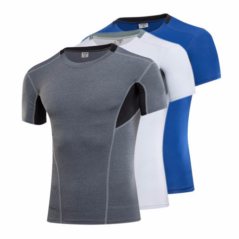 Men Summer Elasticity T-Shirt Quick Dry Fashion Style Short Sleeve Tops Tee Compression Shirt New Factory Price - Shopatronics