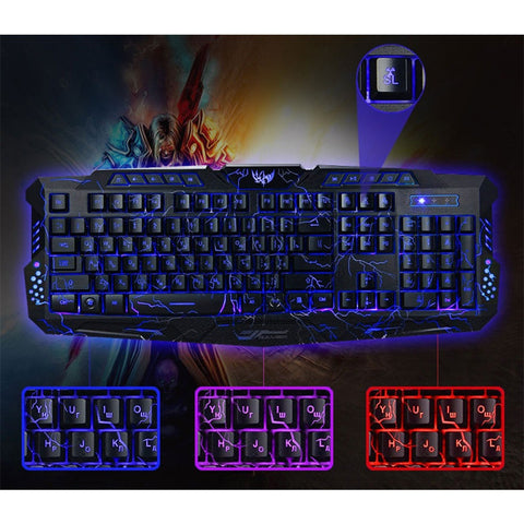 Hot Russian English Version Red/Purple/Blue Backlight LED Pro Gaming Keyboard USB - Shopatronics