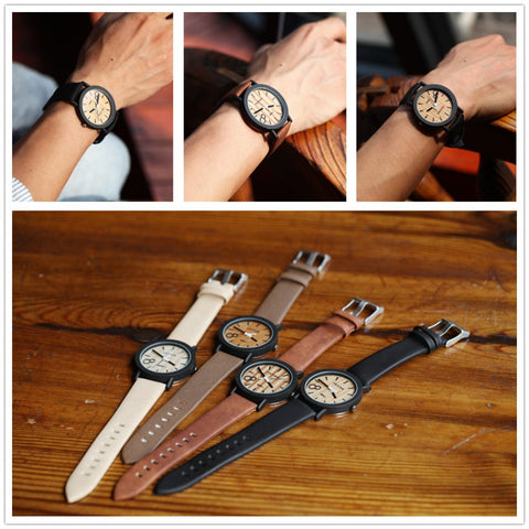 Simulation Wooden Relojes Quartz Men Watches Casual Wooden Color Leather Strap Watch Wood Male Wristwatch - Shopatronics