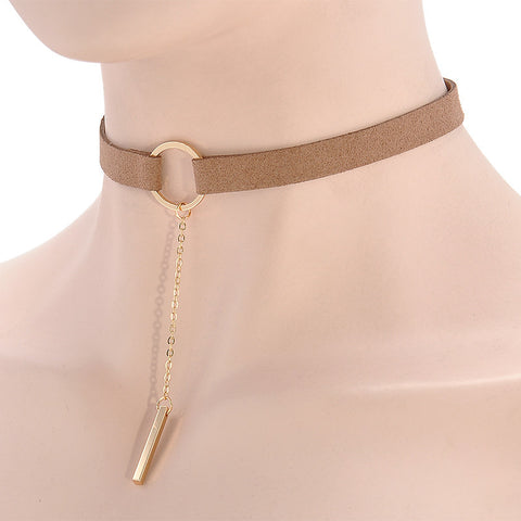 90'S Punk New Fashion 4 Colors Leather Choker Necklace Gold Plated Geometry With Round Pendant Collar Necklace For Women Girls - Shopatronics - One Stop Shop. Find the Best Selling Products Online Today