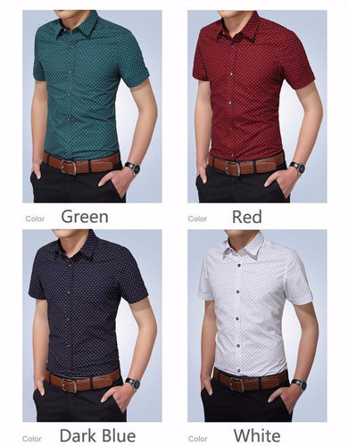 New Turn-down Collar Slim Fit Men Casual Dot Short Sleeve Shirt - Shopatronics