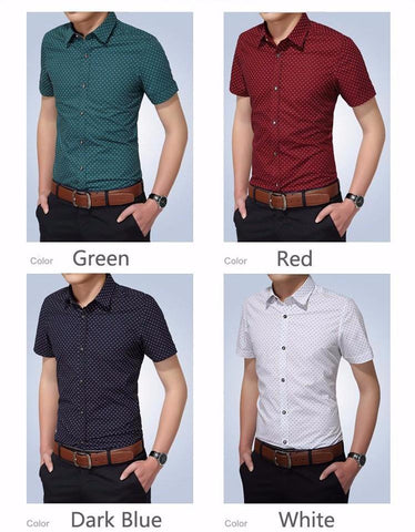 New Turn-down Collar Slim Fit Men Casual Dot Short Sleeve Shirt