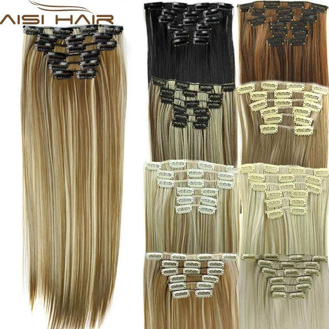 Hairpiece 23inch 140g Straight 16 Clips in False Hair Styling Synthetic Clip In Hair Extensions 6pcs/set Heat Resistant Hair Pad - Shopatronics - One Stop Shop. Find the Best Selling Products Online Today