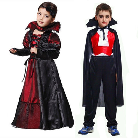 Halloween Girls Costumes Vampire Queen Children Costume Halloween Kids Black Lace Party Dress Necklace Set Boy Couple Clothing - Shopatronics