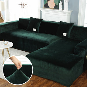 Plush Sofa Cover Velvet Elastic Leather Corner Sectional