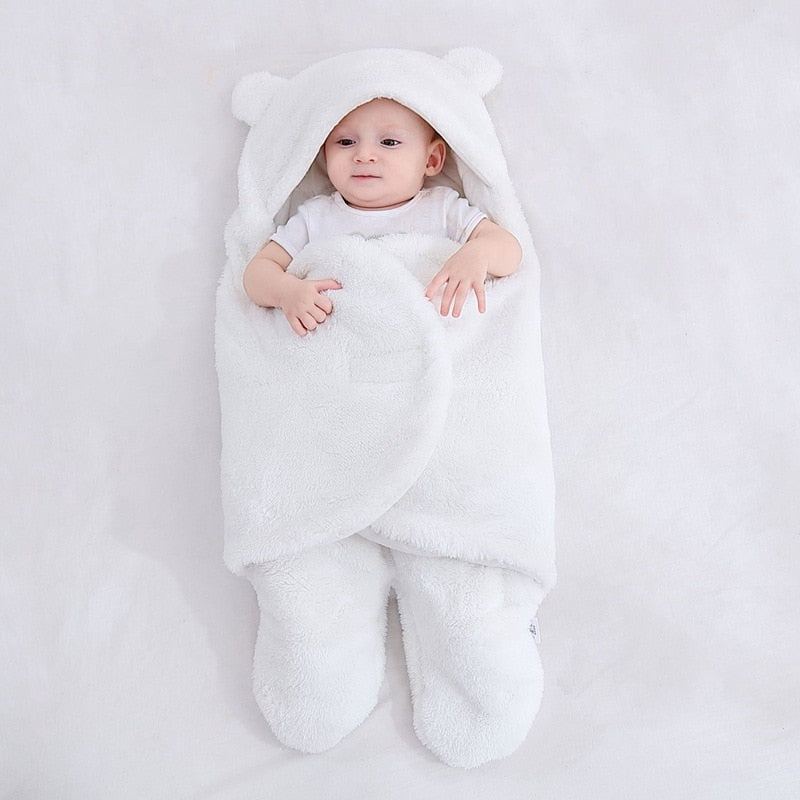 Baby Sleeping Bag Ultra-Soft Fluffy Fleece Newborn Receiving Blanket