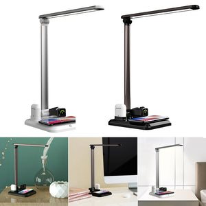 LED Table Desk Lamp 4 in 1 Qi Wireless Charger For Mobile Phone Watch Earphone