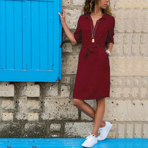 Fashion Turn-down Collar Party Shirt Dress Women Solid Three Quarter Sleeve Spring Dresses