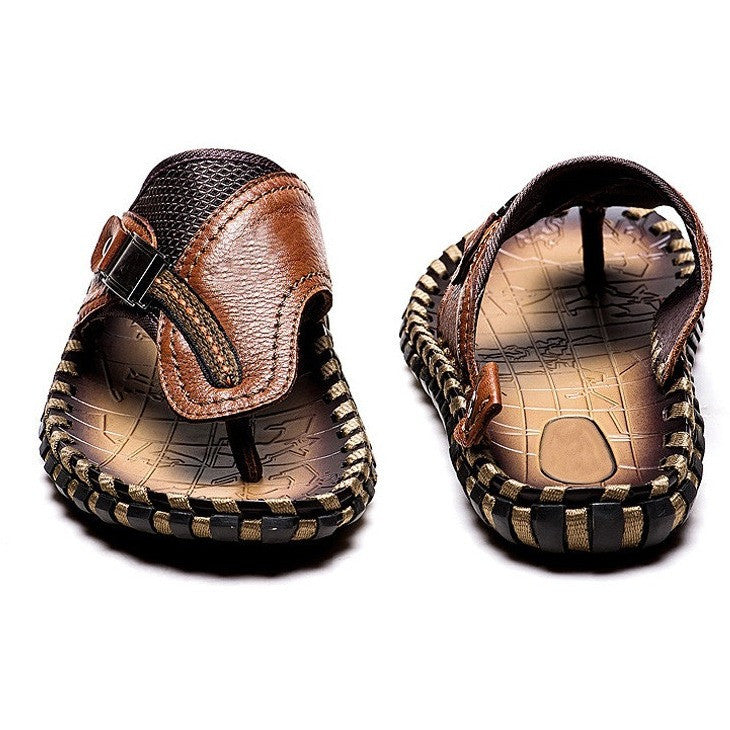 High Quality Handmade 100% Cow Genuine Leather Sandals Men Fashion Brand Shoes Men's Sandals Summer Slippers Beach - Shopatronics