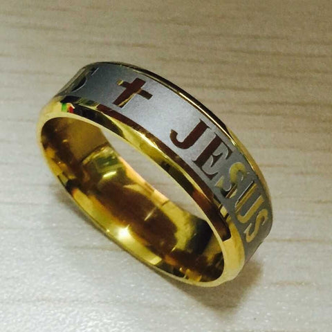 High quality large size 8mm 316 Titanium Steel 18K silver gold plated jesus cross Letter bible wedding band ring men women - Shopatronics