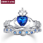 Holding the Sapphire love Heart  AAA+ CZ Diamond Crown Wedding Ring Sets White gold Silver Plated Blue Crystal 2016 new  ZYR616 - Shopatronics