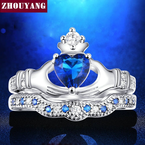 Holding the Sapphire love Heart  AAA+ CZ Diamond Crown Wedding Ring Sets White gold Silver Plated Blue Crystal 2016 new  ZYR616 - Shopatronics - One Stop Shop. Find the Best Selling Products Online Today