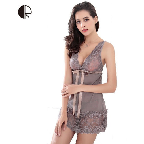 Hot 2016 New Women Sexy Nightwear 5 Colors Plus Size S~XXL Lace Nightgown Sleepwear Dress G-String Sexy Lingerie Robe Sexy AP280 - Shopatronics