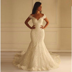 Hot Sale Long Lace Mermaid Wedding Dresses 2016 Sexy V-Neck Bridal Gowns Unique Design Back - Shopatronics