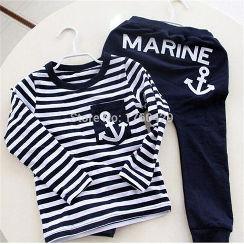 Hot Sale New 2016 Spring Kids Clothes, Navy Long Sleeve Pullover Striped Sports Suit, Casual Boys Clothing Set - Shopatronics