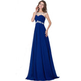 Hot Selling Long Crystal Royal Blue Evening Dress Beads Crystal Chiffon Prom Dress Party Gown - Shopatronics